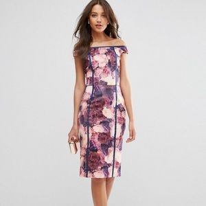 Floral Bardot Body-con Midi Dress