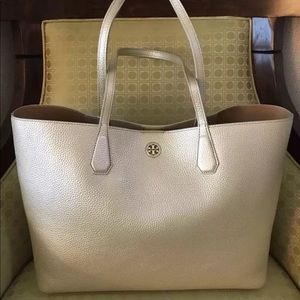 Tory Burch Perry Leather Tote Bag Gold New NWT