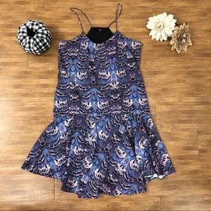 Purple Tibi Drop Waist Feather Dress