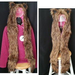 Brown Furry Bear Hat