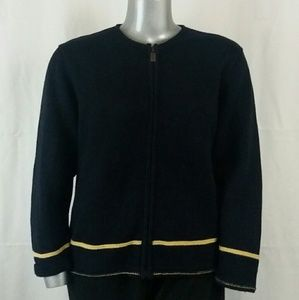 Christopher & Banks Navy Zip Cardigan, XL