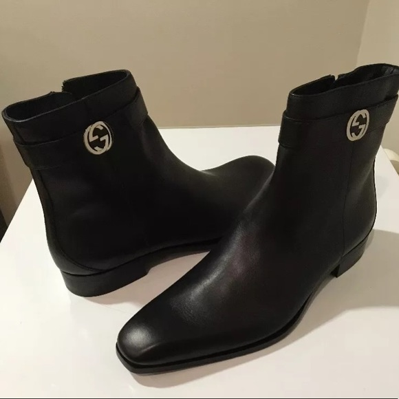1be3c429a2f New Gucci men Cork Leather black ankle boots 🇮🇹