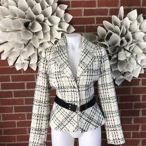 WHBM Plaid Belted Peplum Blazer Wool Fully Line