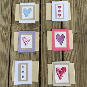 Other - 6 hand painted valentines cards