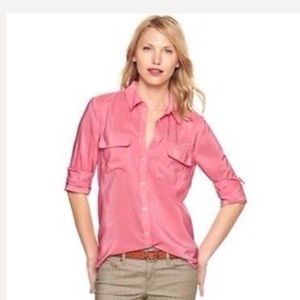 GAP Silky Coral Button Down Blouse
