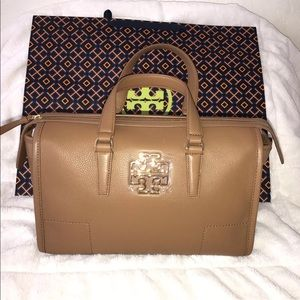 Tory Burch Britten Satchel Tote Leather Bag New