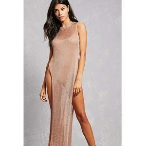 8cde3025d1 Forever 21 Swim - NWT rose gold metallic chainmail coverup dress