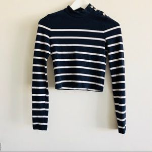 ZARA Striped long sleeve crop top