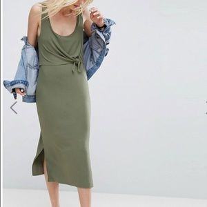 ASOS Column Vest Dress w/ Crop Top Layer