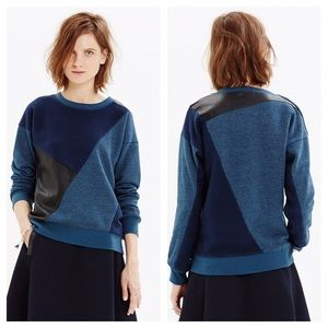 Madewell Patchmix Faux Leather Sweatshirt Small