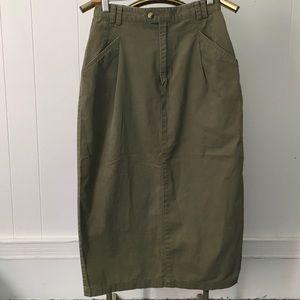 Vintage Eddie Bauer military green skirt