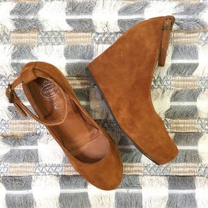 Jeffrey Campbell Adelaide suede ankle strap wedges