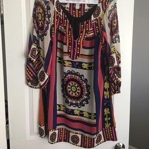 Diane Von Furstenberg sz 10 Tribal Print Dress