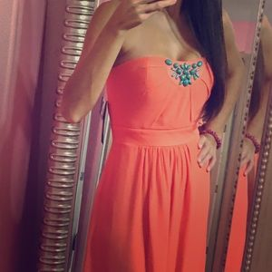 Miss Sixty Coral Empire Embellished Top Maxi