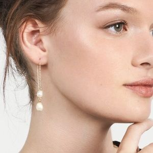 Thread Through Earrings with Pearl