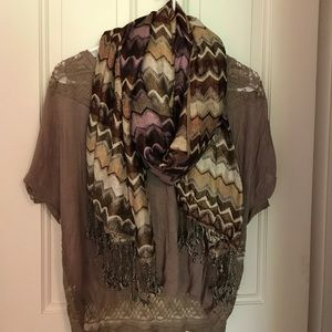 Forever 21 chevron tan and purple scarf