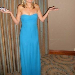 Nicole Miller Silk Chiffon Strapless Gown