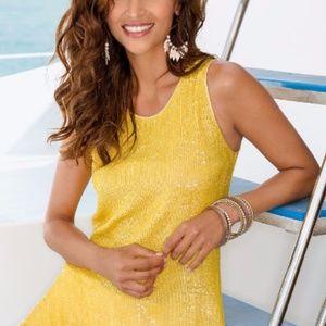 NEW Boston Proper yellow sequin sleeveless blouse
