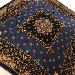 Nordstrom Navy Blue Gold Wool Printed Square Scarf