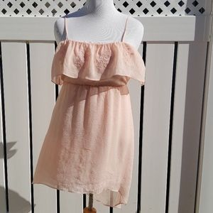 Strappy Gauzy Embroidered Peach Sun Dress Large