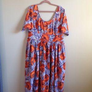 Orange and Purple print dress