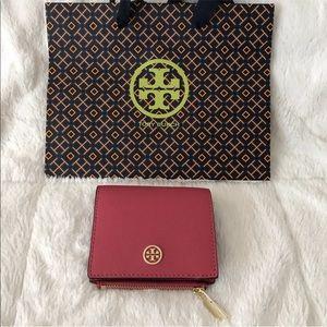 Tory Burch Mini Wallet Leather Dark Peony Pink New