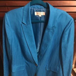 Tahari turquoise single button blazer. Fully lined