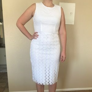 Ann Taylor White Eyelet Midi Dress, Size 8