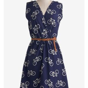 Ride here right now bike print dress Modcloth