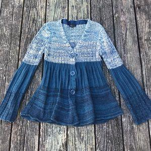 BCBG MAXAZRIA Teal Bell Sleeve Button Sweater