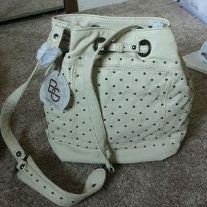 Bcbg generation bone studded hobo fau leather bag