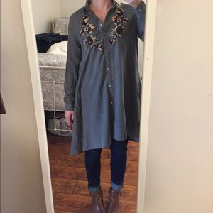 Zara embroidered shirt dress size xs