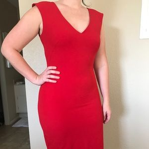 Ann Taylor Red Bodycon Midi Dress Size 8