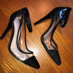 BCBG clear strap heels