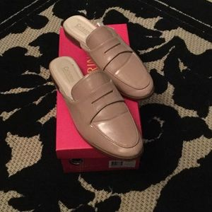 Nude Blush Patent Slip On Loafer Mules