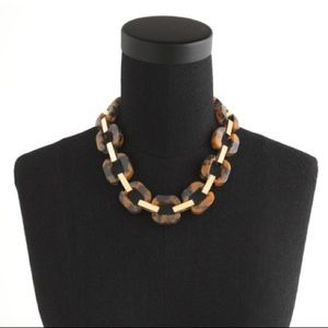 J.Crew tortoise and brass link necklace