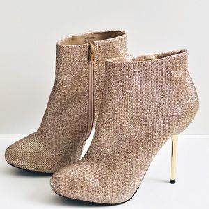 Gold glitter style ankle boots LIKE NEW