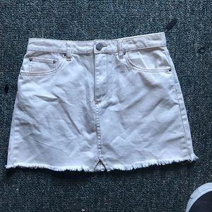 BDG Notched White Denim Mini Skirt