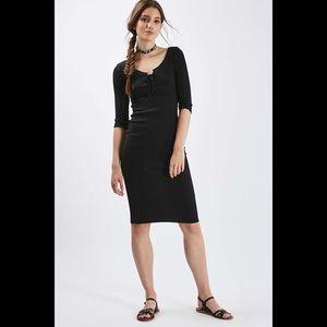 Topshop Lace Up Midi Bodycon Dress (L)