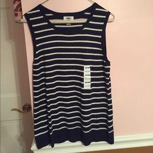 Navy & white striped sleeveless sweater