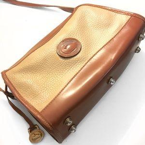 Tan and Cream Leather Vintage Crossbody Bag