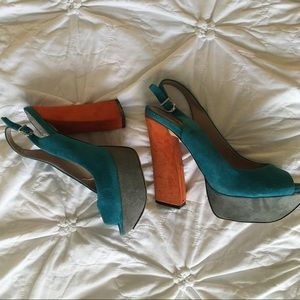 Mazin Slingback Peeptoe Color Block Sandal