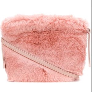 Furla Caos Pink Fur Moonstone Crossbody
