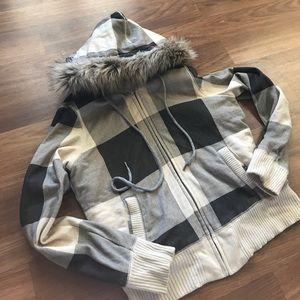 AE Plaid Fur Hoodie