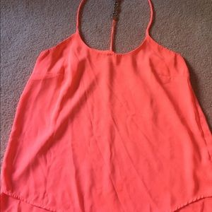 Coral racer back chiffon top with embellishments