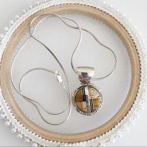Sterling silver jasper tiger eye inlay necklace