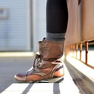 Steve Madden 100% leather combat-style boots