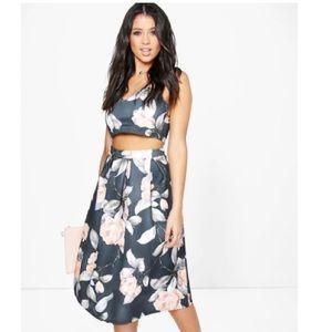 Floral Crop Top & Full Midi Skirt