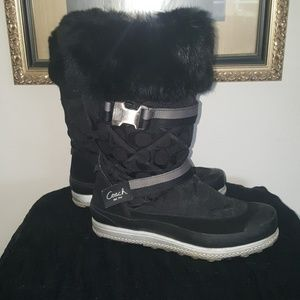 COACH BUNNY FUR WINTER BOOTS BLACK EUC