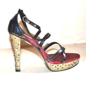 Killer Jeweled Metal stiletto heels faux reptile